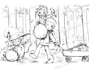Pumpkin Harvest - Halloween line art DIGITAL STAMP Instant Download