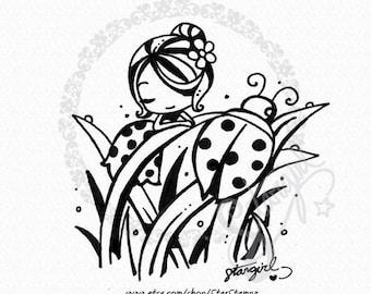 Spring Ladybug DIGITAL STAMP Instant Download