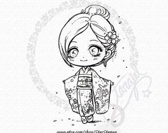 Kimono Portrait DIGITAL STAMP Instant Download