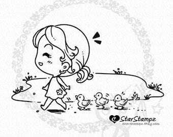 Duckling March DIGITAL STAMP Instant Download