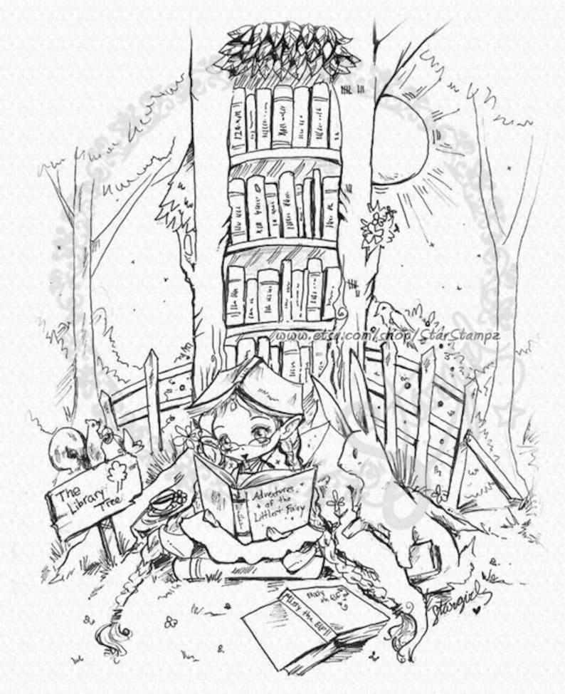 The Book Elf  DIGITAL STAMP Instant Download for Cards & image 0