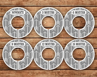 6 Custom Baby Closet Dividers | Dark Gray Tribal Arrows | 046