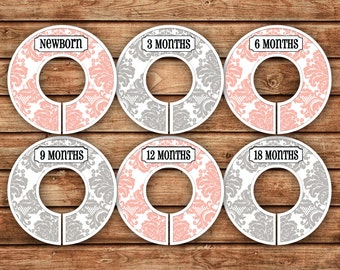 6 Custom Baby Closet Dividers | Damask Light Pink & Gray | 028