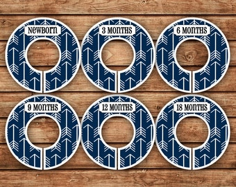 6 Custom Baby Closet Dividers | Navy Blue Tribal Arrows | 048