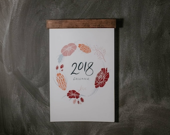 2018 Floral Calendar with quotes and wood hanger