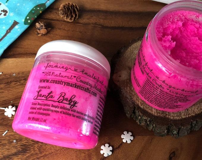 Santa Baby- Pink Berry Champagne  - Vegan Emulsified Sugar Scrub 10 oz