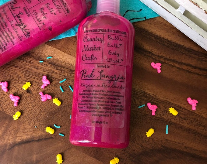 Pink Sangria - Liquid Bubble Bath Vegan Body Wash - 8.5 oz