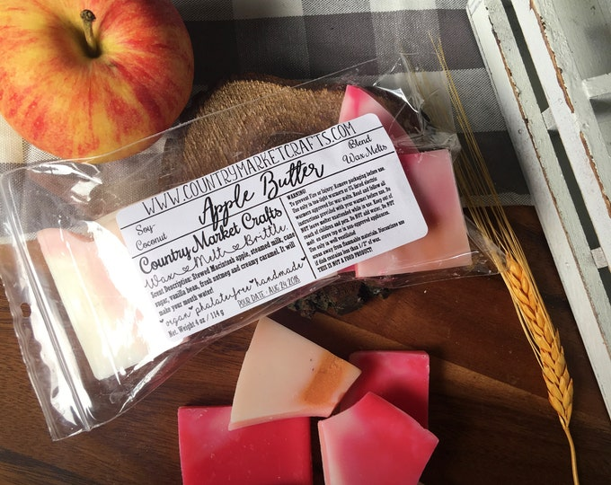 Apple Butter Fall Wax Brittle Wax Melts Gift Box Handmade Soy Vegan Highly Scented Wax Melt Stocking Stuffer