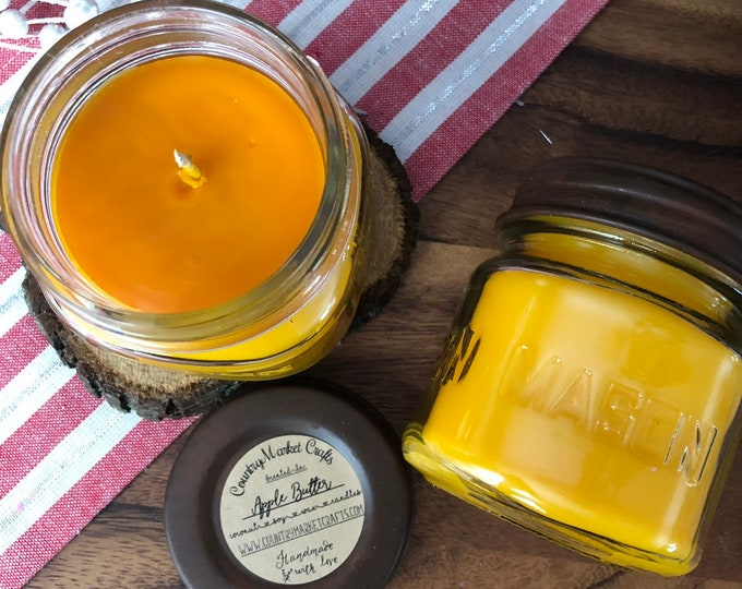 Apple Butter  -  10 oz Natural Soy Coconut Wax Candle Cotton Wick Candle Vegan Candle Holiday Candle-