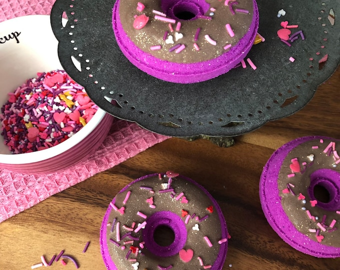 Black Cherry Merlot Donut Bath Bombs - Vegan Natural Bath Fizzy Doughnut Stocking Stuffer Valentines Day