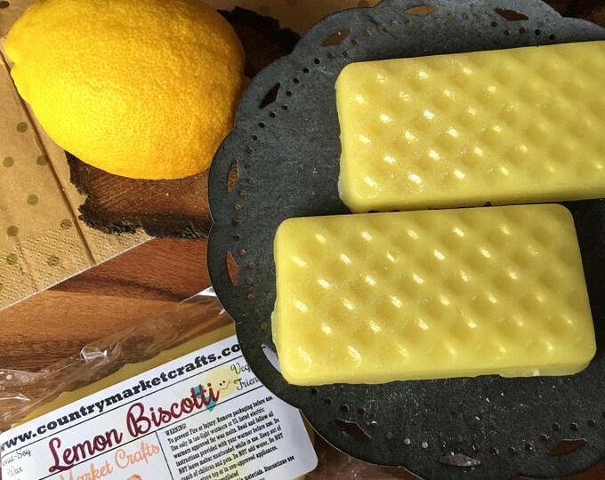 Lemon Biscotti Wax Melts Wax Brittle Handmade Soy Vegan Highly Scented Wax Tarts Wax Melt-