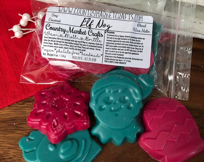 Elf Nog Wax Melts Wax Brittle Handmade Soy Vegan Highly Scented Wax Tarts - Stocking Stuffer Stocking Stuffer Christmas Gifts