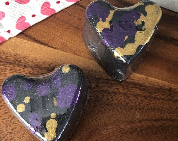 Midnight Fig Black Bath Bombs Bath Vegan  Bath Fizzy - Black Heart - Anti Valentines Day
