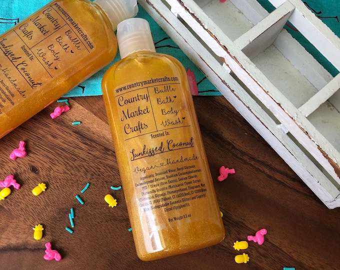 Sun kissed Coconut - Liquid Bubble Bath Vegan Body Wash - 8.5 oz - Lemon Tea Cake