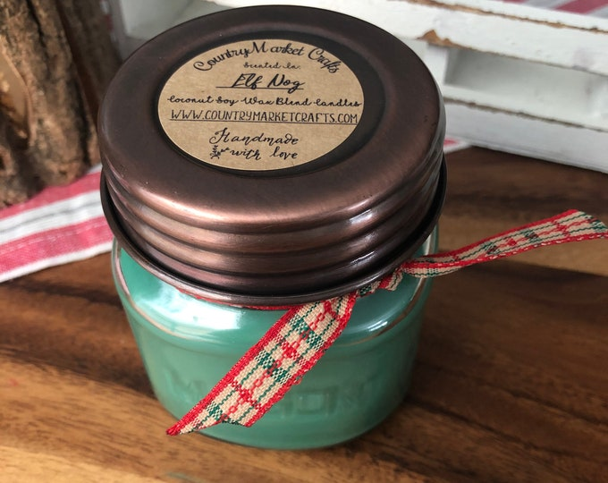 Elf Nog Candle 10 oz Natural Soy Wax Candle Cotton Wick Candle Vegan Candle Holiday Yog Nog Candle Stocking Stuffer Christmas Gifts