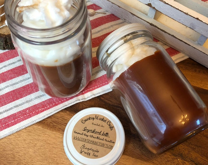 Gingerbread Latte -  8 oz Natural Soy Coconut Wax Candle Cotton Wick Candle Vegan Candle Holiday Candle-