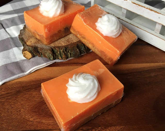 Frosted Pumpkin Spice - With Sugar Scrub Base -  Natural Soap Handmade Soap Vegan Soap Fall Pumpkin Pie-
