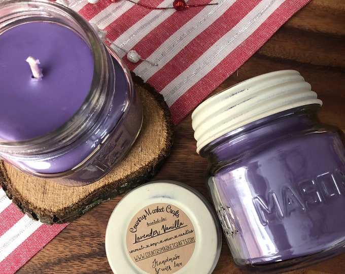 Lavender Vanilla -  10 oz Natural Soy Coconut Wax Candle Cotton Wick Candle Vegan Candle Holiday Candle-