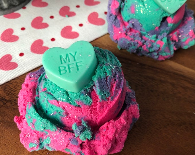 Conversation Heart - Rainbow Sherbet - Bubble Scoops - Solid Bubble Bar Bath Vegan - Valentines Day
