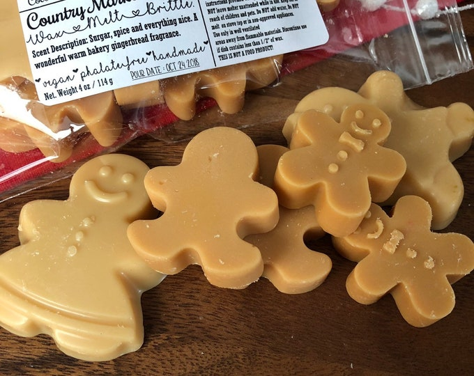 Frosted Gingerbread Wax Melts Wax Brittle Handmade Soy Vegan Highly Scented Wax Tarts - Stocking Stuffer
