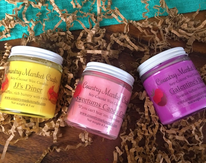 Parks ans Rec Inspired Candle Set 3 Candles - Vegan Friendly - Coconut Soy Wax  Hunt-