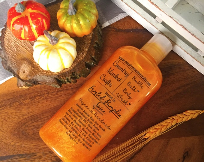 Frosted Pumpkin Spice Liquid Bubble Bath Vegan Body Wash - 8.5 oz - Pumpkin Pie