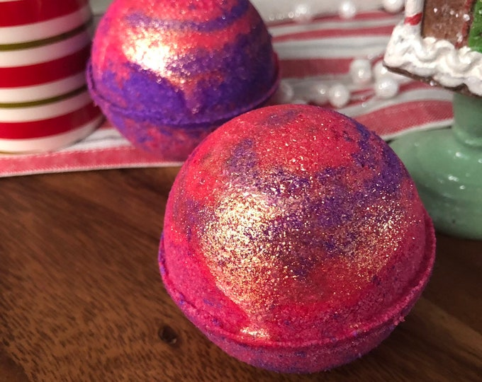 Cranberry Pomegranate - Christmas  Scent Vegan Bath Bomb Natural Bath Fizzy - Stocking Stuffer - Stocking Stuffers