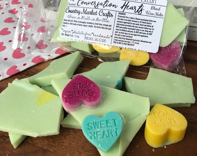 Conversation hearts Handmade Soy Vegan Highly Scented Wax Tarts Wax Melt-
