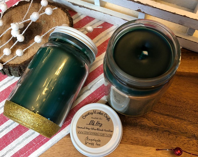 Elf Nog Candle 8 oz Natural Soy Coconut Wax Candle Cotton Wick Candle Vegan Candle Holiday Yog Nog Candle Stocking Stuffer Christmas Gifts