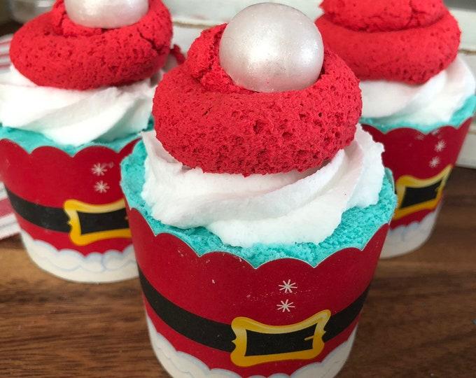 Sugar Cookie Jumbo Huge Santa Hat Cupcake Bubble Bath Bomb with bubble bar Frosting Natural Bath Bomb Stocking Stuffer Christmas Gifts