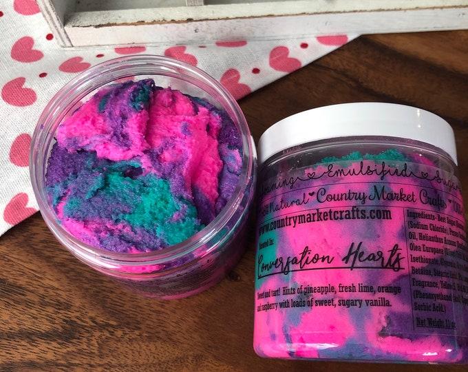 Conversation Hearts- Rainbow Sherbet   - Vegan Emulsified Sugar Scrub 10 oz - Valentines Day Gift