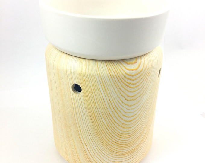 Ceramic Birch Wood - Classic Wax Melter - illuminated Wax Lamp-
