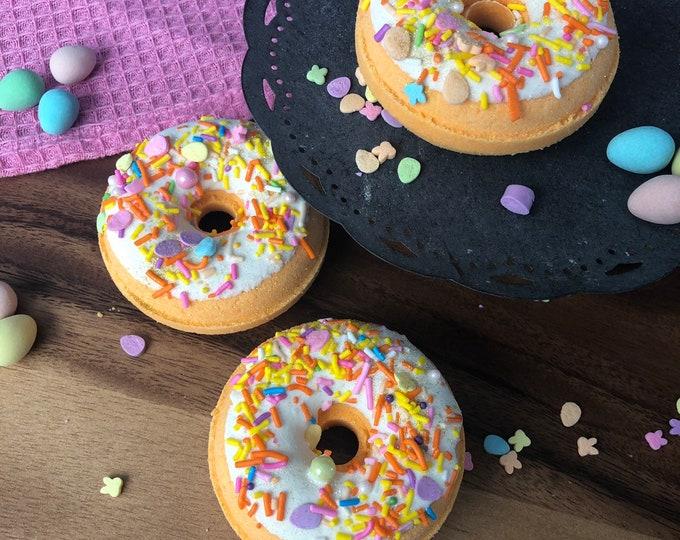 Carrot Cake Donut Bath Bombs - Vegan Natural Bath Fizzy Doughnut - Easter Spring