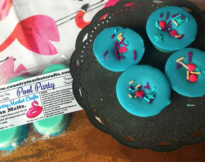 Pool Party Wax Melts Wax Brittle Handmade Soy Vegan Highly Scented Wax Tarts -Wax Melt Stocking Stuffer- Mother's Day Gift