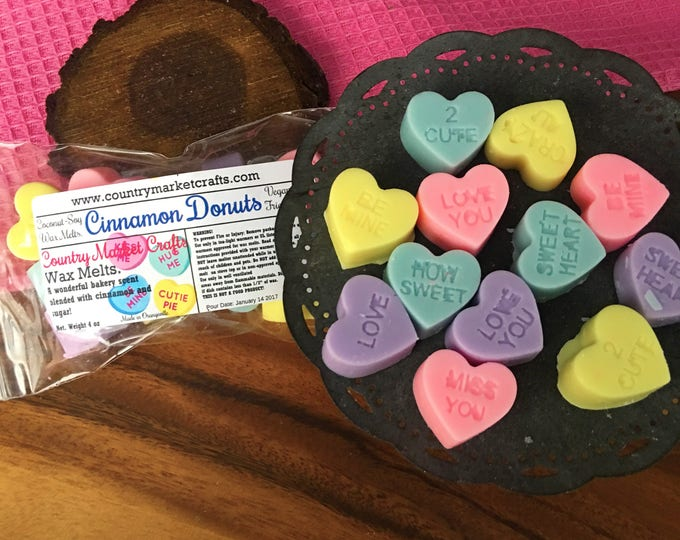 Cinnamon Donut Scented Wax Melts Wax conversation hearts Handmade Soy Vegan Highly Scented Wax Tarts Wax Melt-