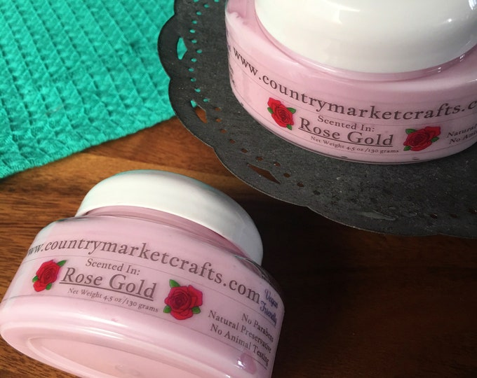 Rose Gold Body Soufflé Hand & Body Lotion Natural Handmade Rose Jam lotion-