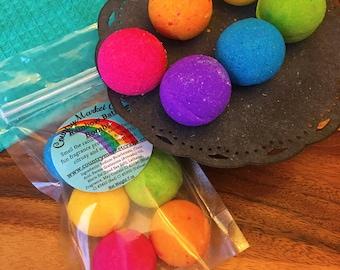 Mini Rainbow Bath Bomb Set Smell the Rainbow! Bath Fizzy Small Bath Bombs-