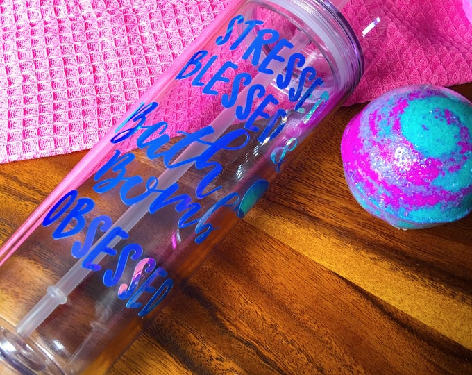 Bath Bomb Obsessed Tumbler Cold Drink Gift Set Bath Bomb Set Handmade Decorated by hand straw travel cup 10 oz Tumbler  Hunt
