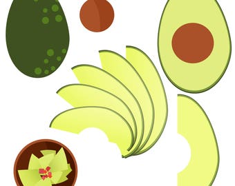 Avocado Clipart - Royalty Free, Commercial Use .PNG clipart - Instant Download