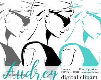 Breakfast at Tiffany's Holly Golightly PNG Clipart - 7 colors - lineart vector clipart download