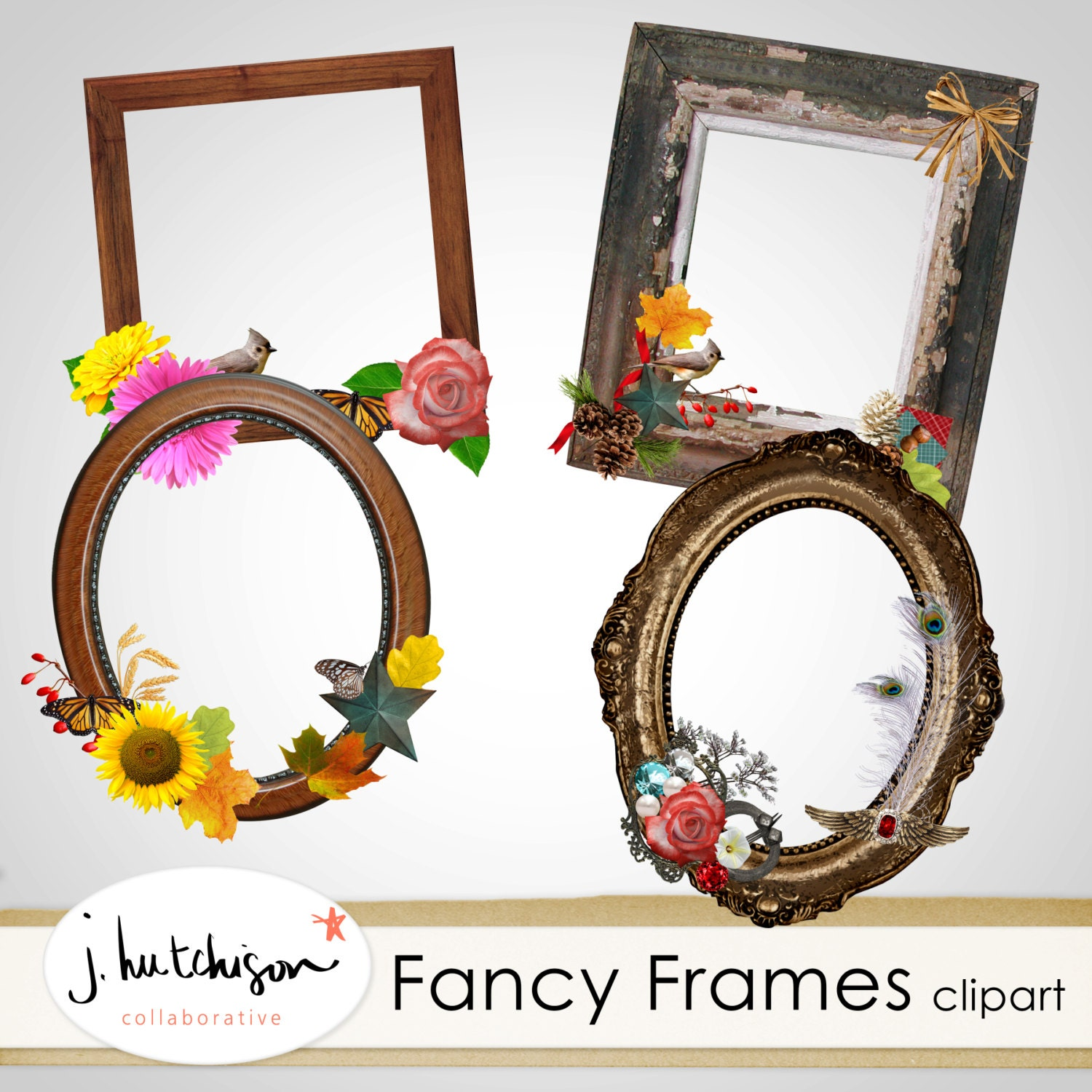 Fancy Frame Clipart 4 PNG clip art frames for photos and | Etsy