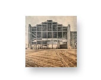Asbury Park Casino Print On Wood