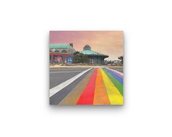 Rainbow Runway Print On Wood