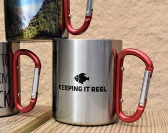 Keepin It Reel, Campfire Mug, Fishing Gift For Men, Campfire Mug, Carabiner Mug