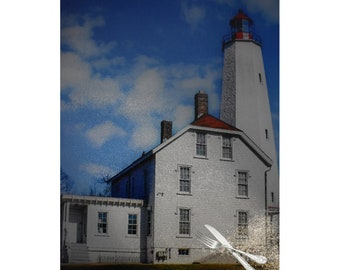 Sandy Hook Lighthouse Glass Cutting Board, Jersey Shore Gift