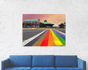 Rainbow Runway Print on Metal