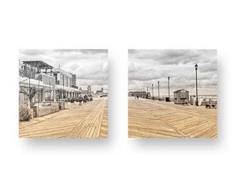 Asbury Park Boardwalk Two Panel Print On Wood