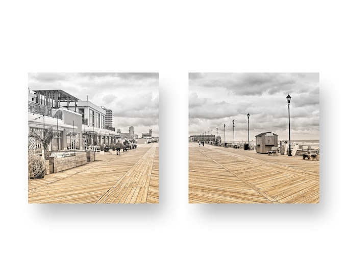 Featured listing image: Asbury Park Boardwalk Two Panel Print On Wood