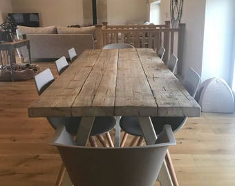 Reclaimed Industrial Chic A-Frame 6-8 Seater Dining Table Grey - Bar Cafe  Restaurant Furniture Steel Solid Wood Metal Made to Measure 574 7b8724c10