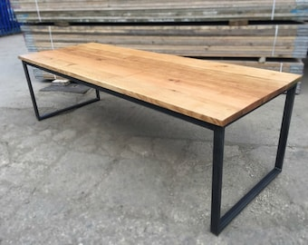 Solid Full Stave Oak Industrial Chic 6 8 Seater Dining Table   Cafe  Restaurant Furniture Steel Solid Wood Metal Made Measure Reclaimed 517